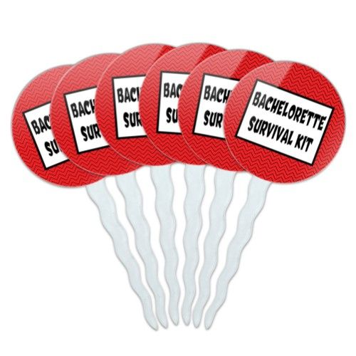 Bachelorette Survival Kit Chevrons Red Cupcake Picks Toppers - Set of 6