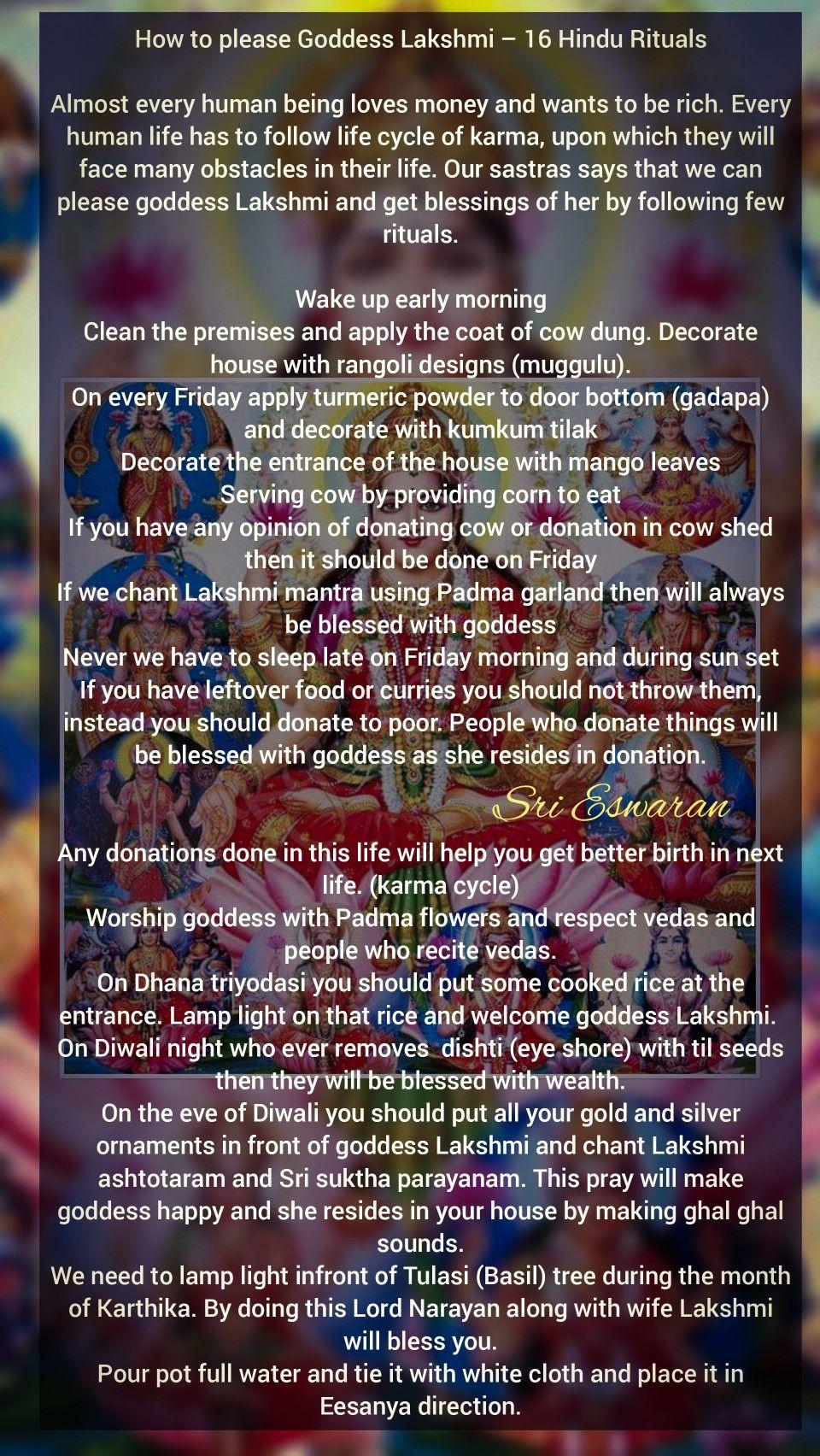 How to please Goddess Lakshmi – 16 Hindu Rituals Almost