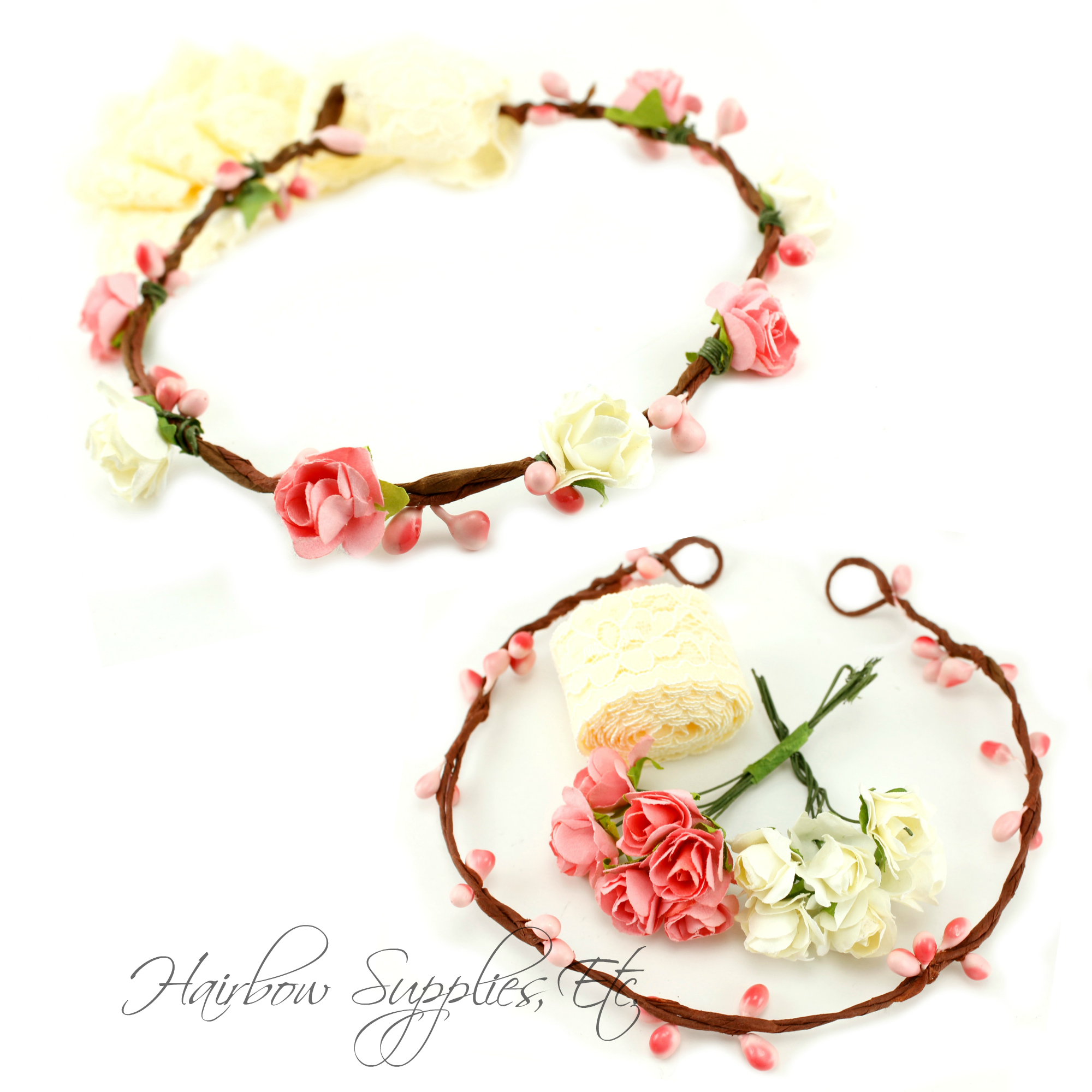 Diy pink and ivory floral crown kit hse embellishments pinterest diy pink and ivory floral crown kit this pink and ivory floral crown kit is so gorgeous this kit can be used to create unique and custom floral crowns izmirmasajfo