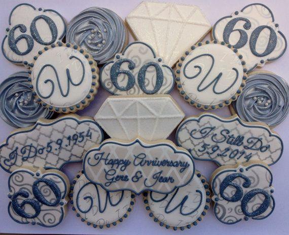 60th wedding anniversary cookies 1 dozen anniversary party