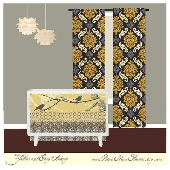Gray and Yellow Bird baby bedding with custom by birdshaveflowers, $238.00