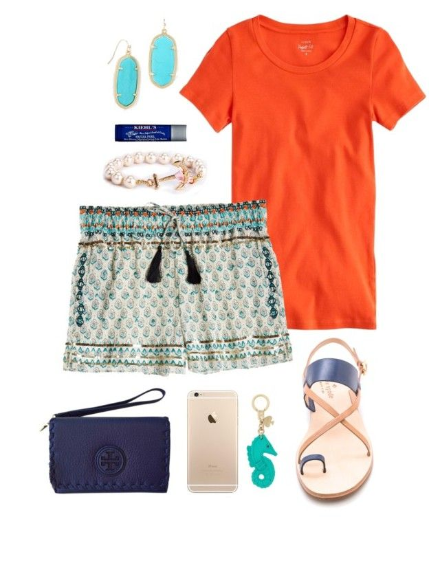 """""""Calypso Shorts"""" by eliekcole ❤ liked on Polyvore featuring J.Crew, Calypso St. Barth, Tory Burch, Kate Spade, Kiehl's and Kendra Scott"""