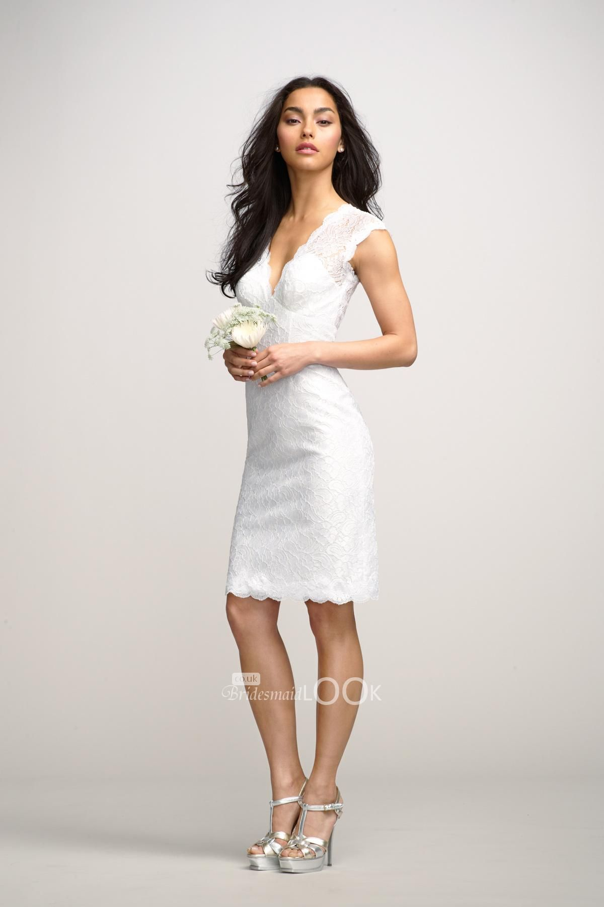 Short white dresses little white vneck lace short bridesmaid