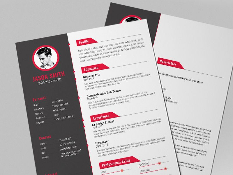Free Creative Resume Template with Red Color Style Free Resume