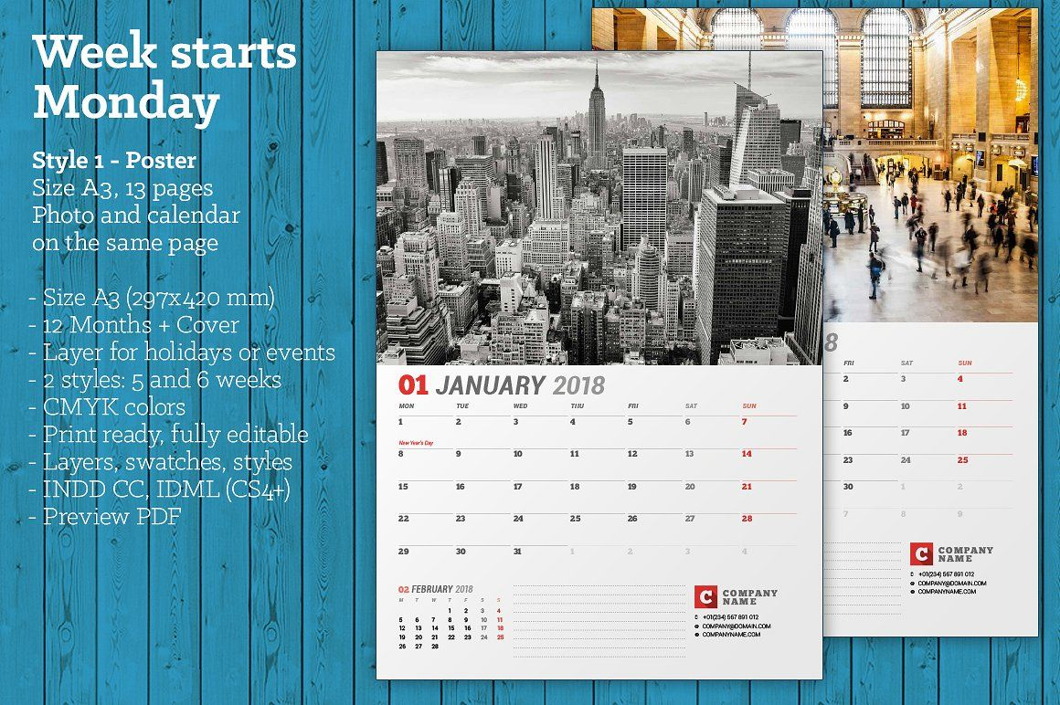 Wall Calendar For 2018 Year Fully Editable Layered Indesign