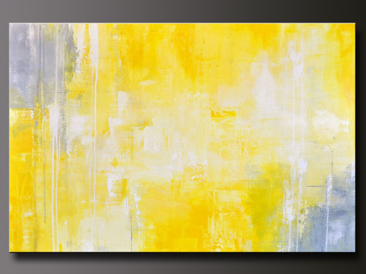 Yellow And Grey Wall Art abstract in yellow 13 - abstract acrylic painting - contemporary