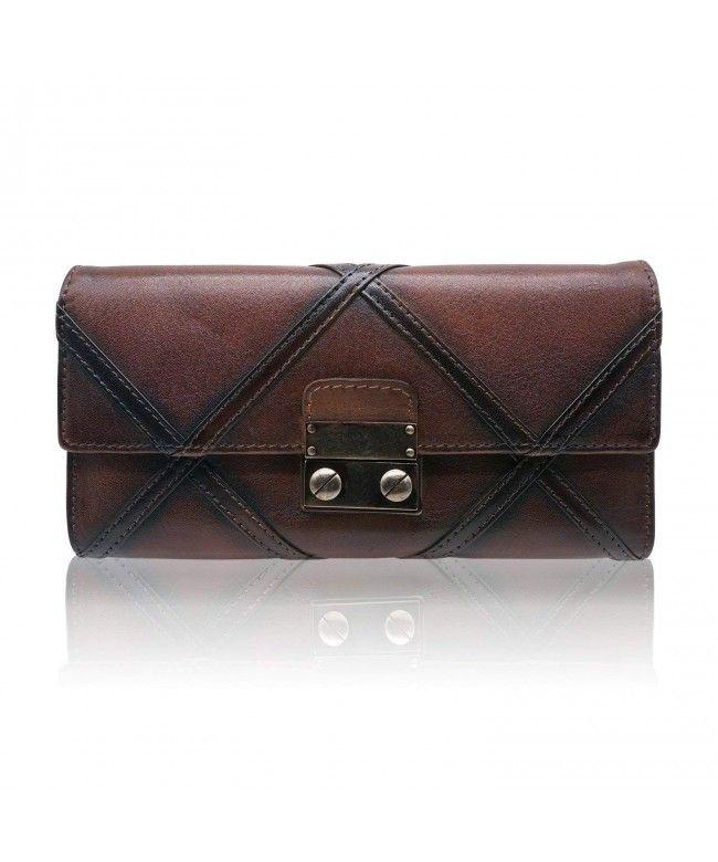 b3107a7ddd6b Womens Real Leather Wallets Handmade Ladies Clutch Card Organizer Holder -  Coffee - CX1800K474M