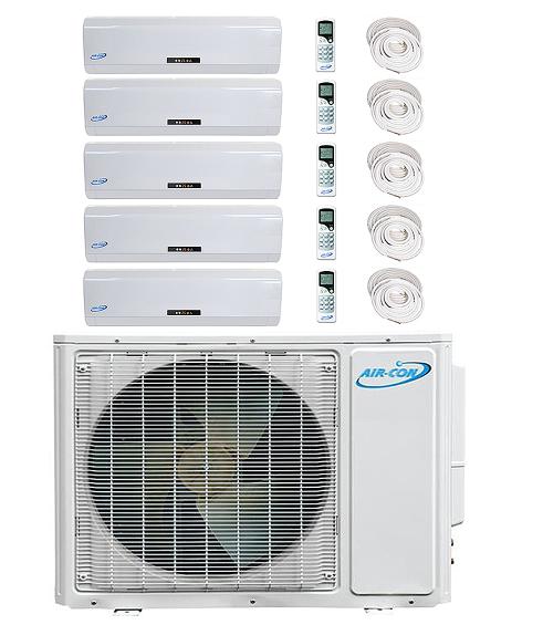 AirCon Quint Zone 5x12000 BTU 16 SEER Mini Split Heat Pump