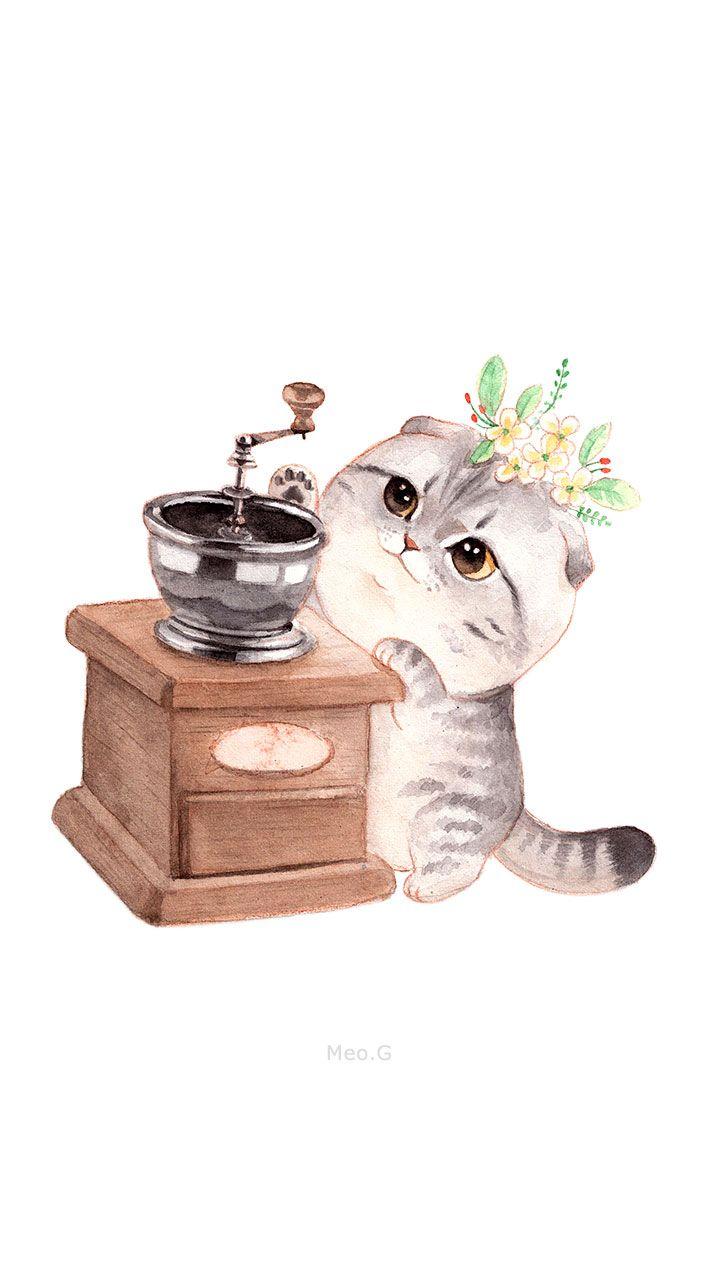 Coffee Meow D   Anak kucing, Animasi, Kucing lucu