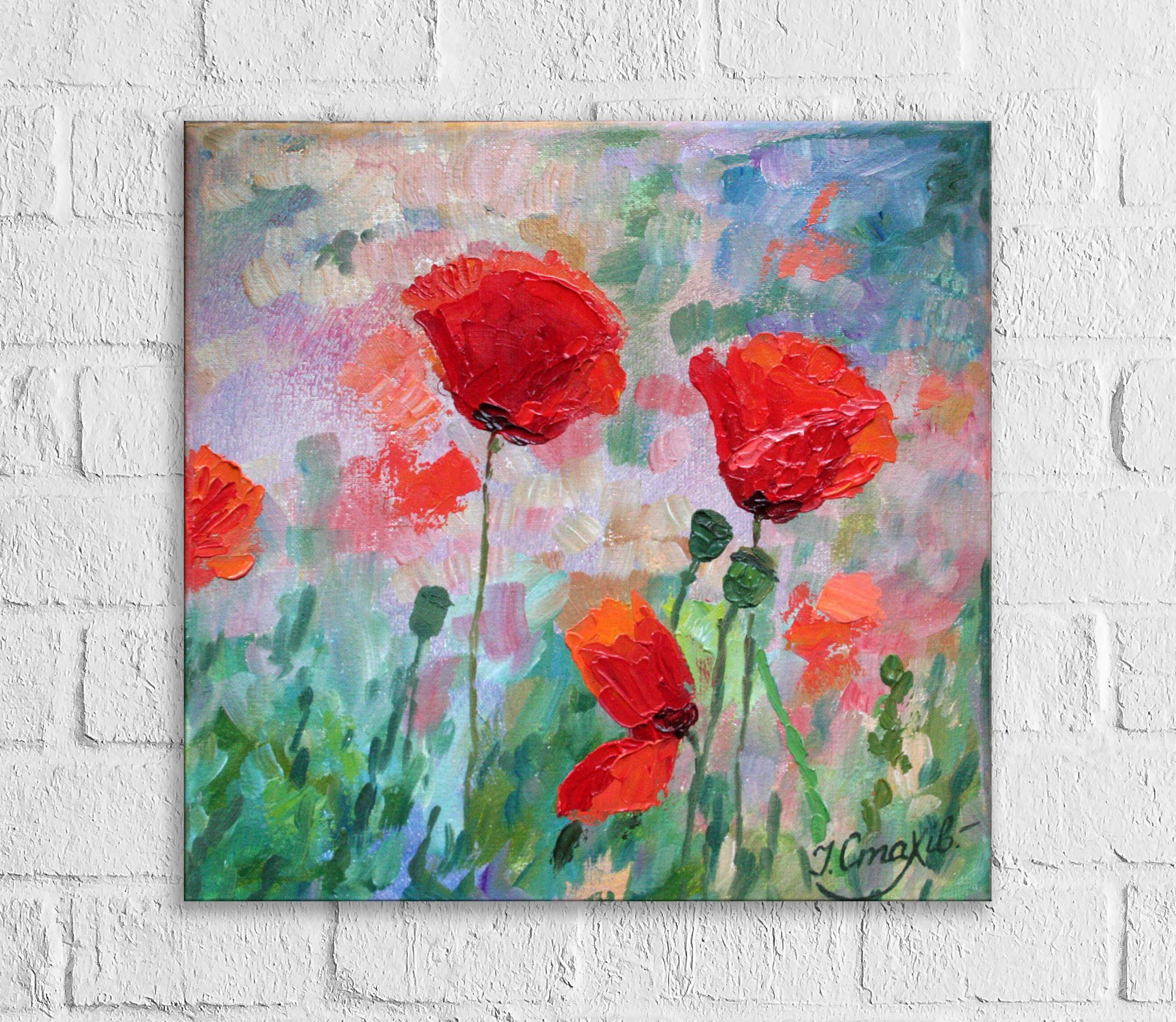 Poppies oil painting red flowers impasto small wall paintings on