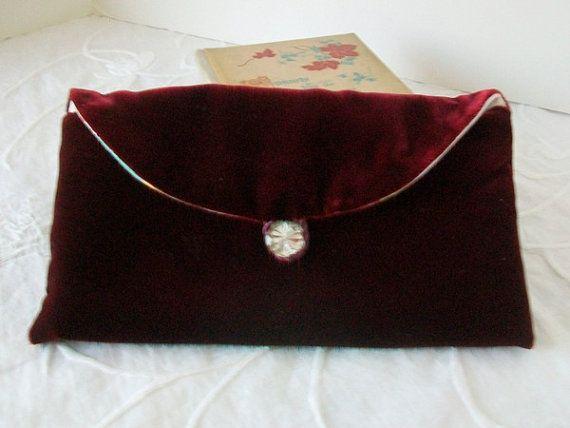 Velvet clutch Christmas clutch Crimson purse by sammysgrammy