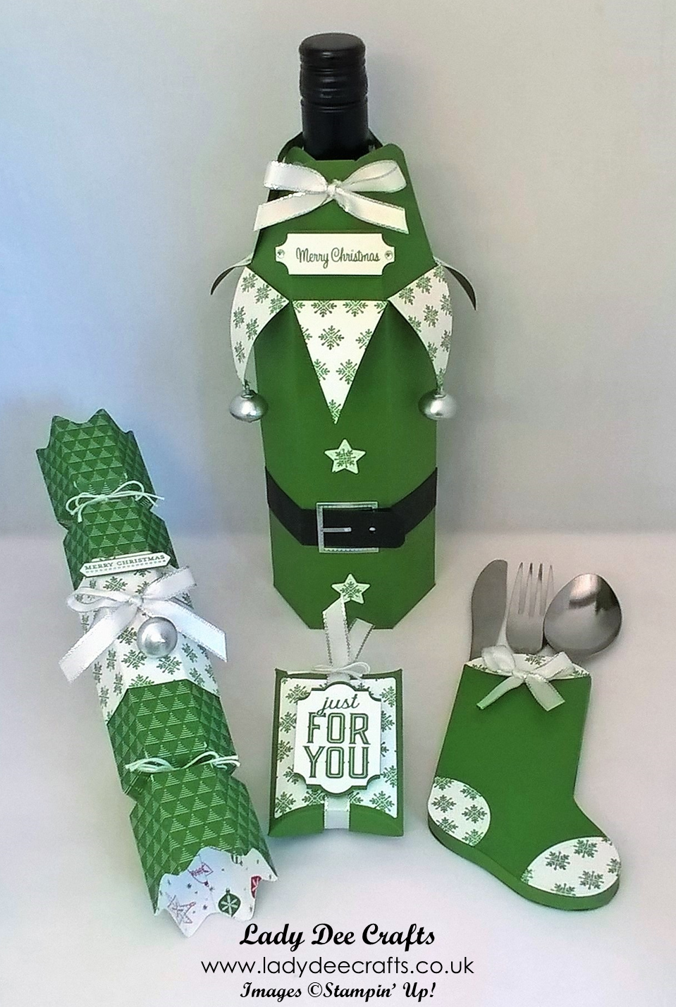 christmas table setting using stampin 39 up products christmas cracker wine bottle cover. Black Bedroom Furniture Sets. Home Design Ideas