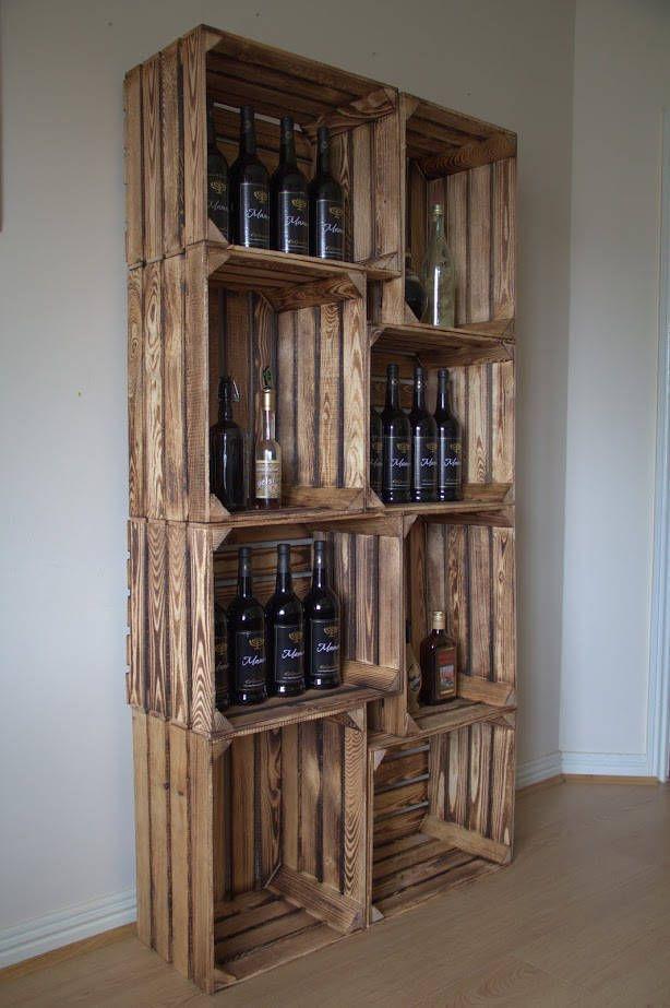 Set Holzregale (6 Stück), Bücherregal,Flaschenregal,Wohnzimmer ...