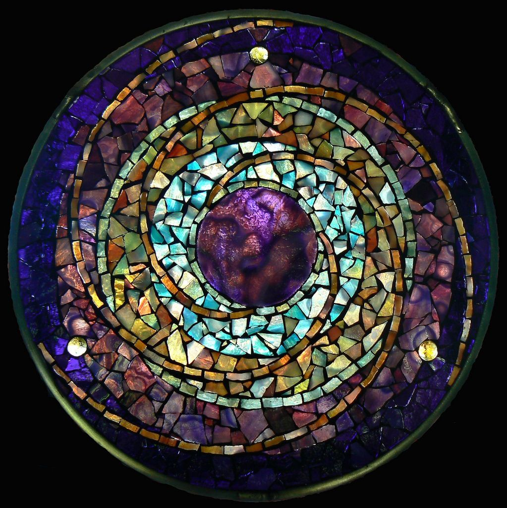 Purple Sun Spiral Gorgeous Mosaic Glass Glass Art