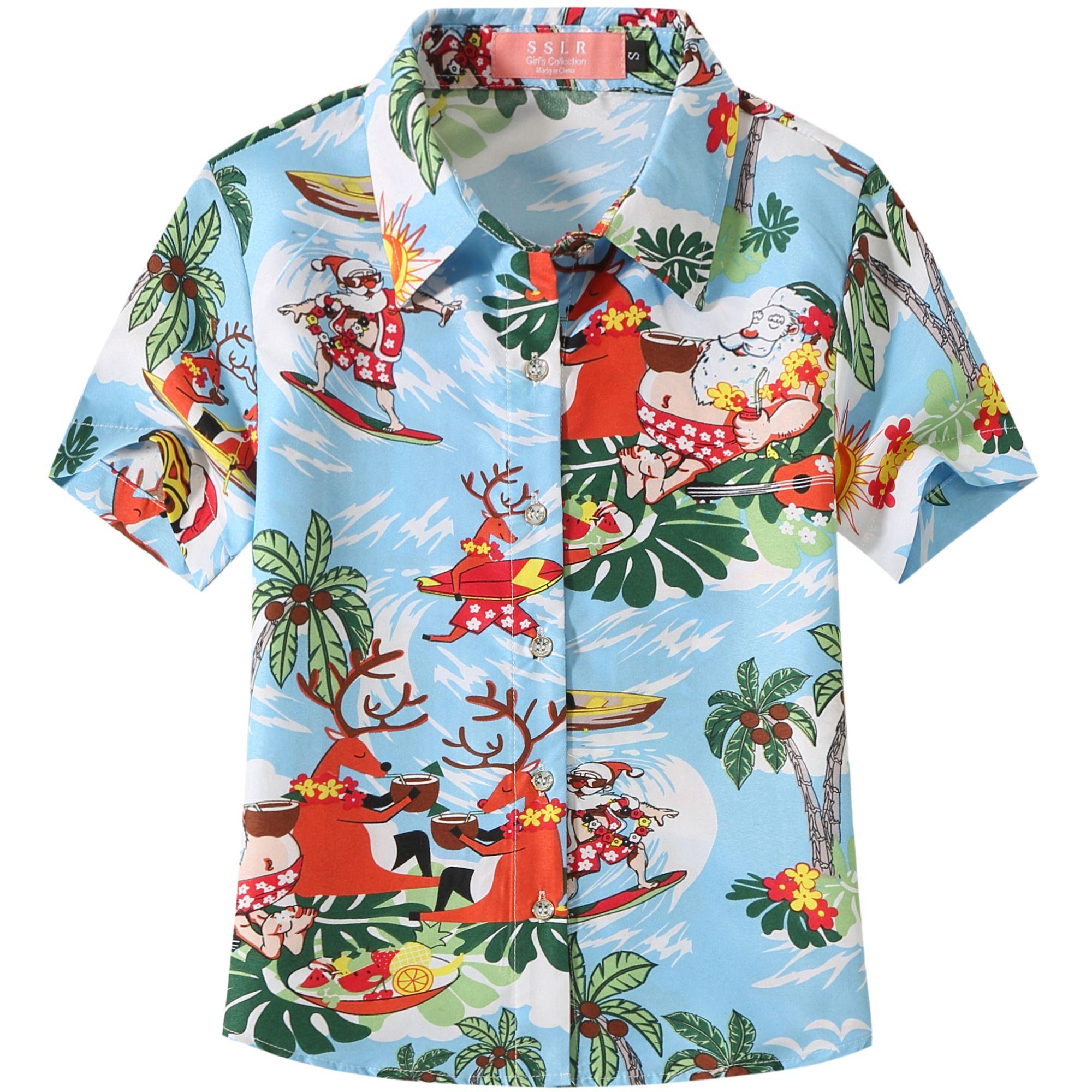 SSLR Big Boys Holiday Santa Claus Party Casual Ugly Hawaiian Christmas Shirts
