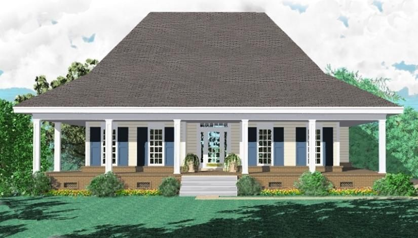 653881 3 bedroom 2 bath southern style house plan with for Country style house plans with wrap around porches