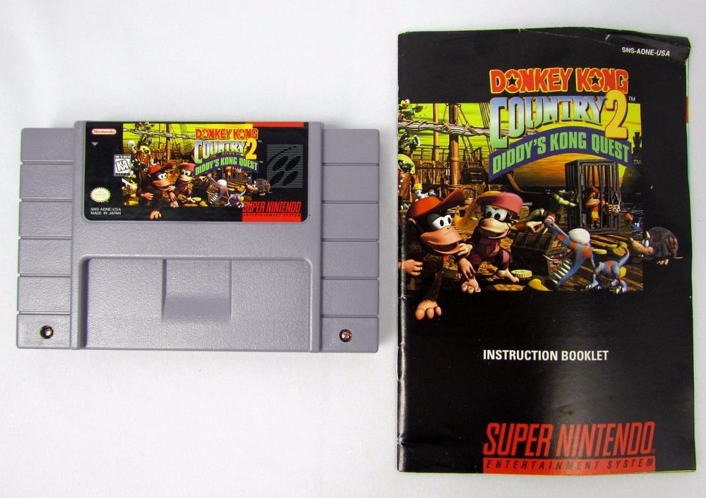 donkey kong country 2 snes super nintendo w manual tested video rh pinterest com Video Game Instruction Manuals Video Game Tutorials
