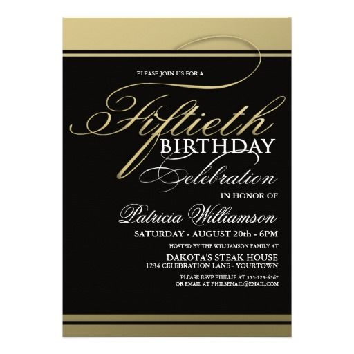 Gold Formal 50th Birthday Invitations