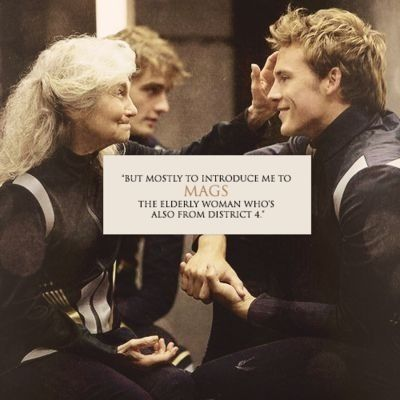 awwww look at Finnicks and Mags smile!Finnick has a JAW LINE!!