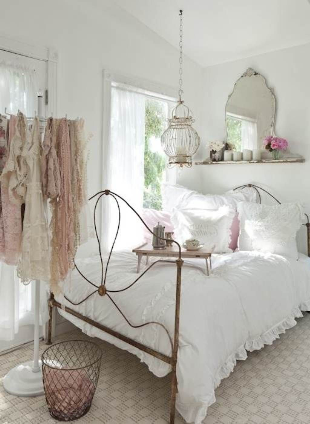 White bedroom ideas for women - Lovely Bedroom Ideas For Young Women Beautiful Shabby Chic White Young Women Bedroom With Classic Hanging Lamp And Vintage Mirror Also Min