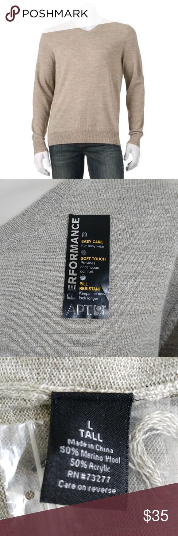 9 heather black v-neck merino wool blend sweater NWT $75 Tall LargeTall Apt