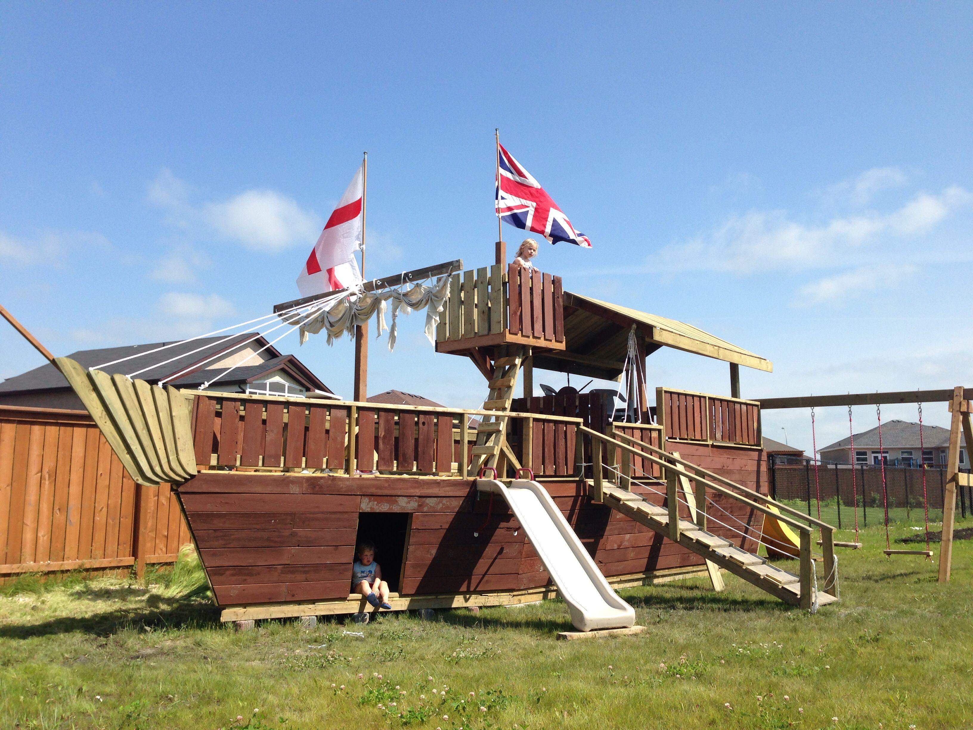 Pirate ship playhouse | Kids will love | Kids outside ...