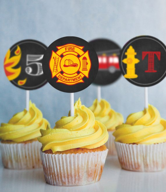 Chalkboard Fireman Firefighter Cupcake Toppers Fireman