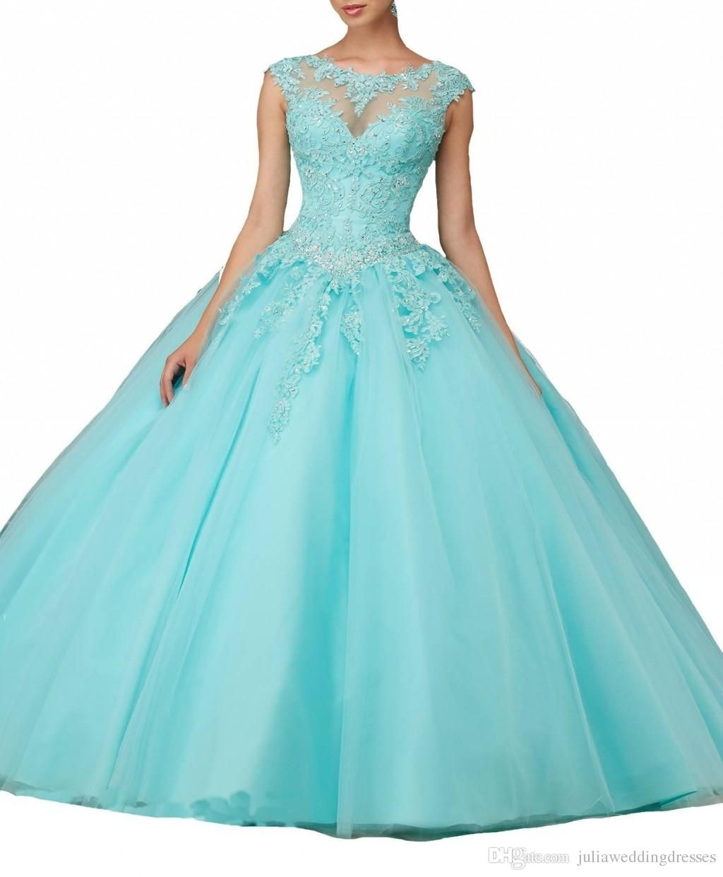 New Lace Ball Gown Quinceanera Dresses Tulle Appliques Beaded Floor ...