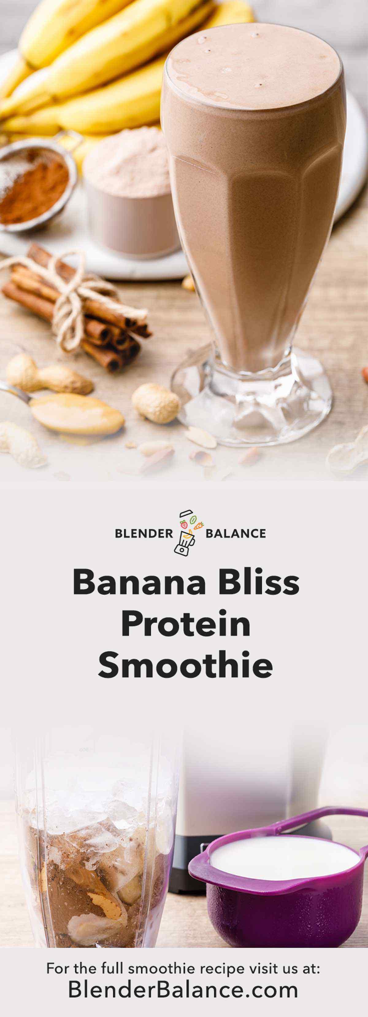 Banana Bliss Protein Smoothie - Protein-Packed Chocolate Shake Recipe - Blender Balance #healthychocolateshakes