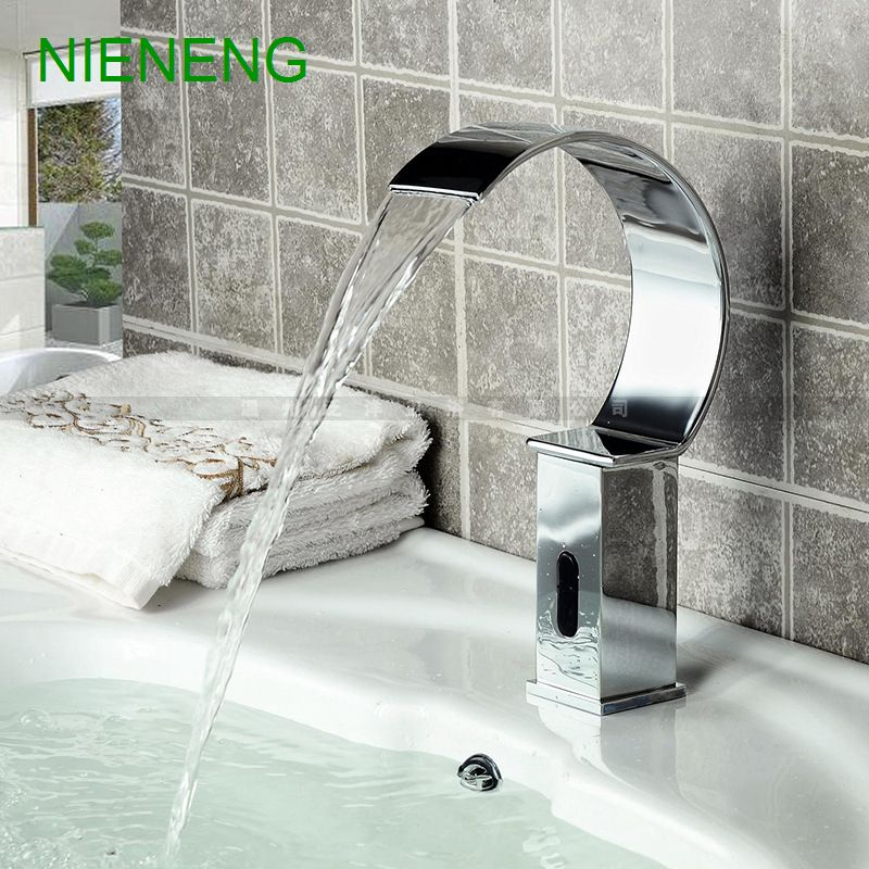 NIENENG Sensor Faucet Bathroom Sink Mixer Cold Water Automatic Restaurant  Mixers Basin Faucets Hospital Appliance Taps