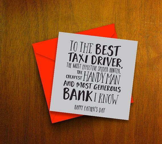 Funny Fathers Day Card The Best Taxi Driver Handy Many Bank
