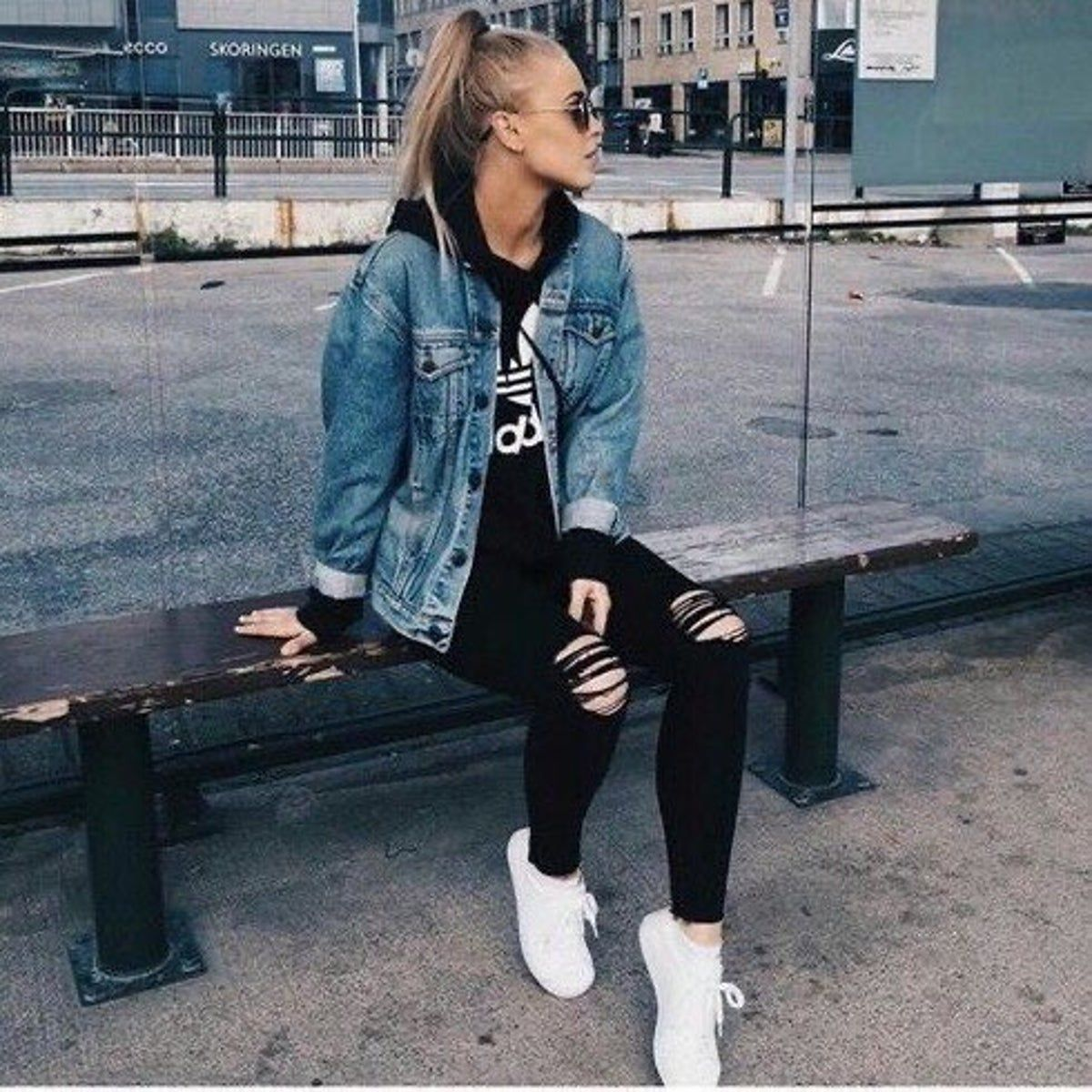 American Eagle Jean Jacket Cute Tomboy Outfits Tomboy Fashion Cute Outfits With Jeans [ 1200 x 1200 Pixel ]