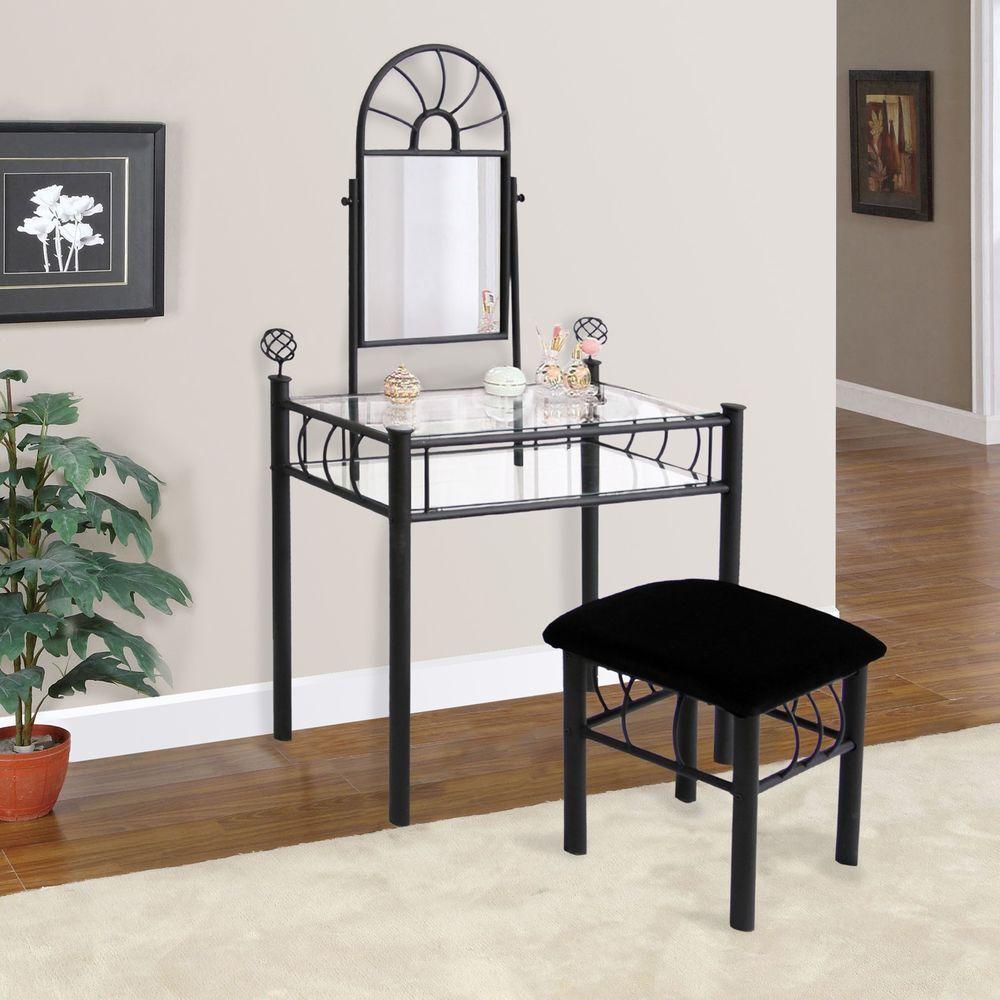 piece black glass home vanity set desk table mirror stool makeup