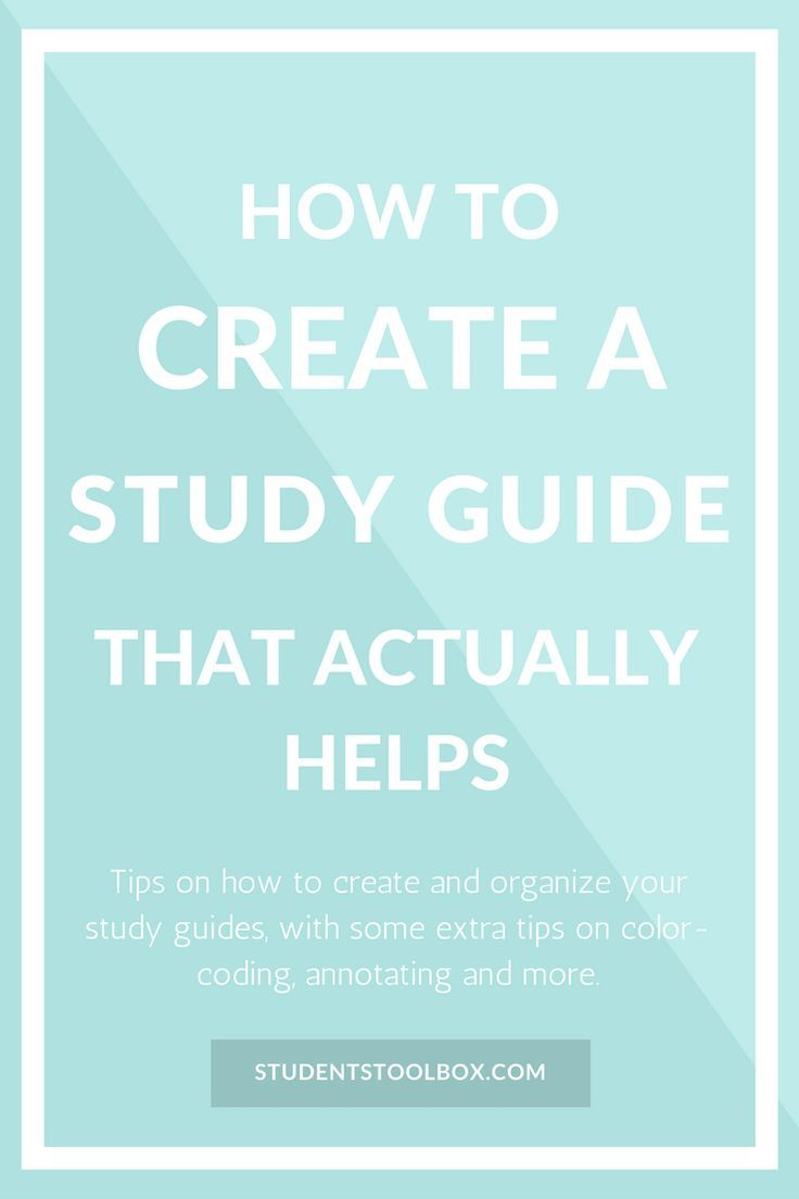 Check out how to make a study guide that actually helps. This study guide  template will give you ideas on creating a DIY study guide.