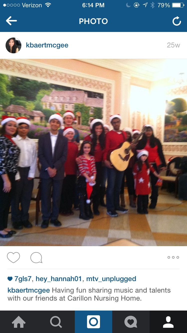 Sharing holiday music with friends at Carillon Nursing home Dec. 2014