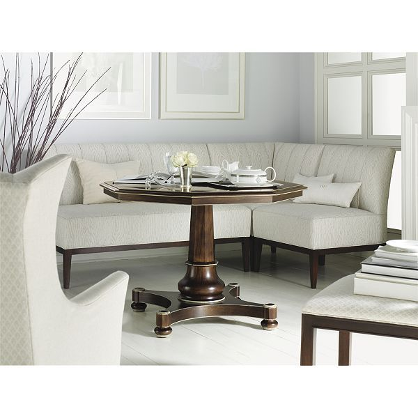 Dinette Bench Seating: Banquette With Pedestal Table Corner In Front Of Window