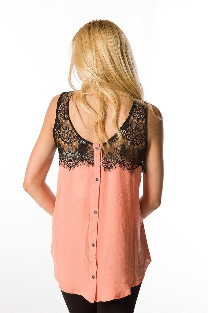 Chiffon Tank with Top Lace
