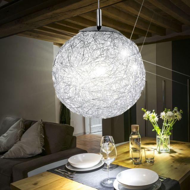 Design ceiling pendulum hanging lamp lamp chrome glass sphere living room new