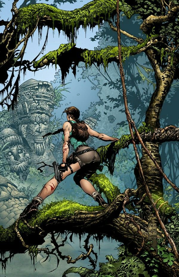 Lara in the Jungle  pencils = david finch  inks = joe weems Colors by Sean Ellery