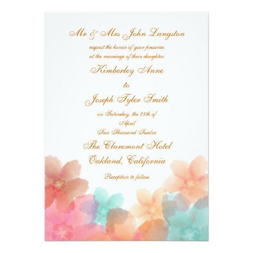 Orange, Pink, and Turquoise Floral Wedding Invitat 5x7 Paper Invitation Card