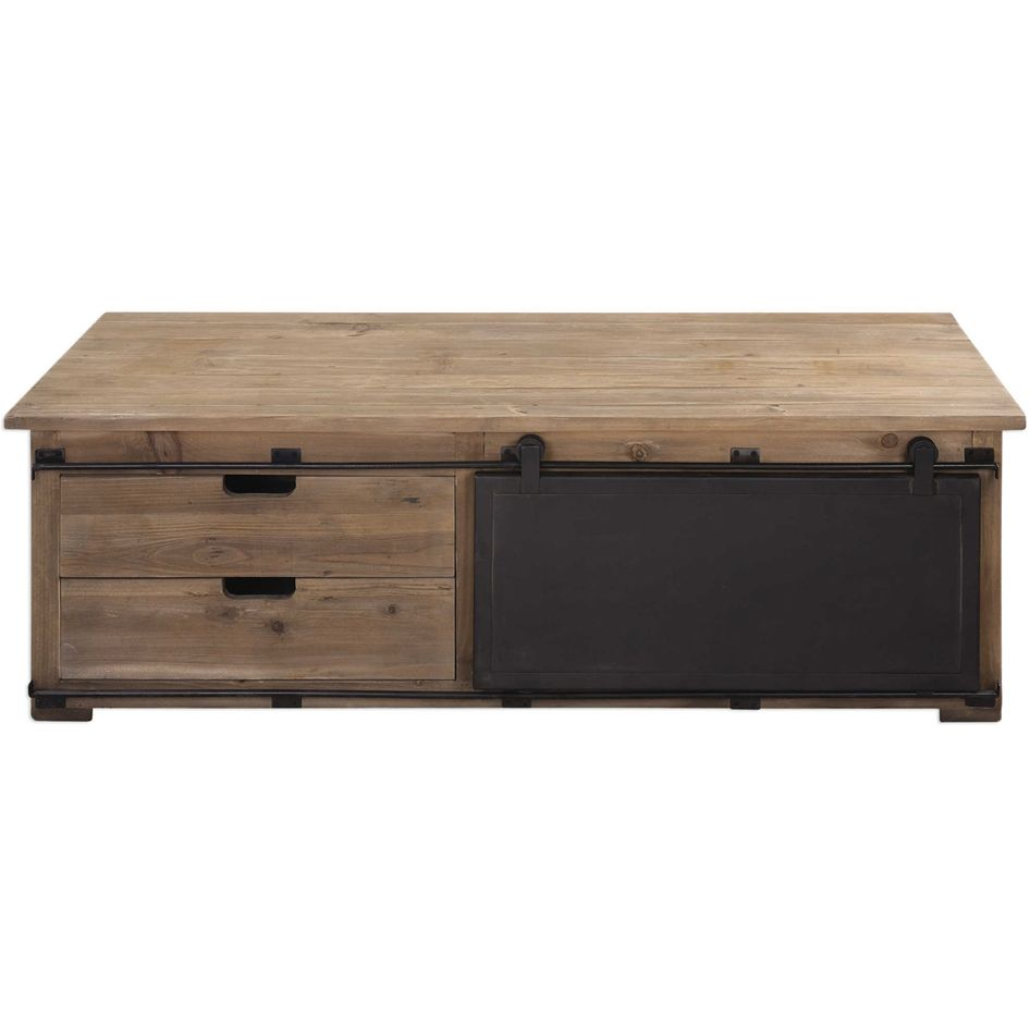 Industrial Wood Coffee Table Distressed Designs: Grange Industrial Coffee Table - Distressed Wood