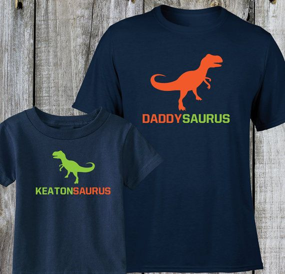 Our First Fathers Day Dinosaur Personalised Matching Baby Grow /& Adult T-Shirt