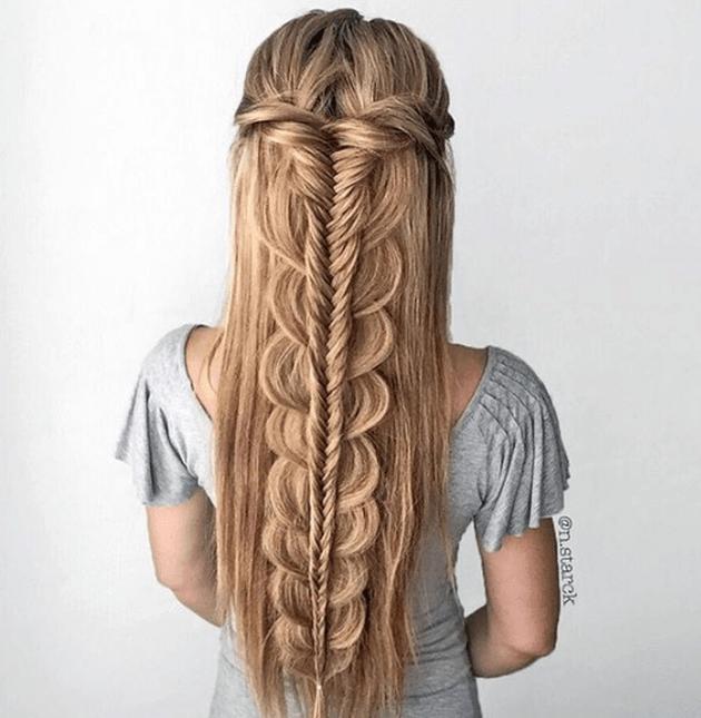 La tresse épi en cascade | Coiffure cheveux long facile, Coiffure, Coiffure cheveux long