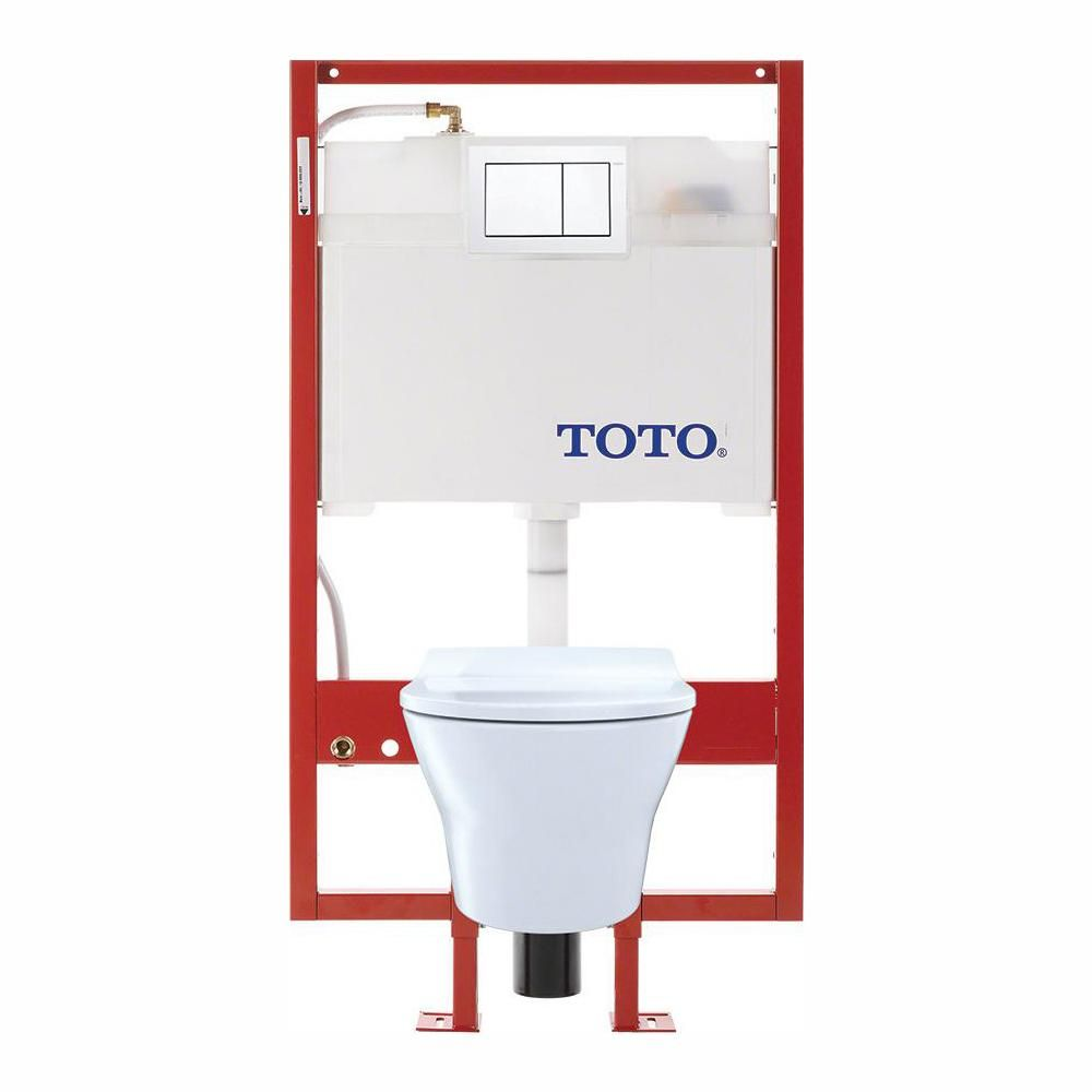 Toto Mh Connect With Wall Hung 2 Piece 0 9 1 2 8gpf Dual Flush Elongated Toilet With Pex Supply And Slim Seat In Cotton White In 2020 Wall Mounted Toilet Wall Hung Toilet Toilet