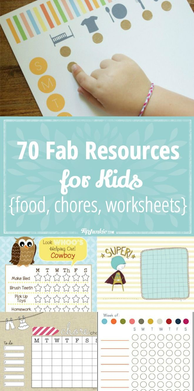 70 Fab Resources for Kids [food, chores, worksheets]   Kid foods ...