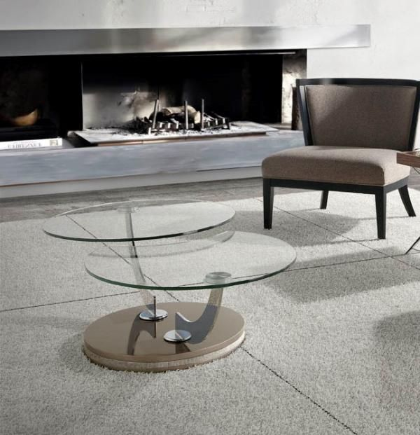 Angel Cerda Modern Round Glass Swivel Coffee Table Choice of Base