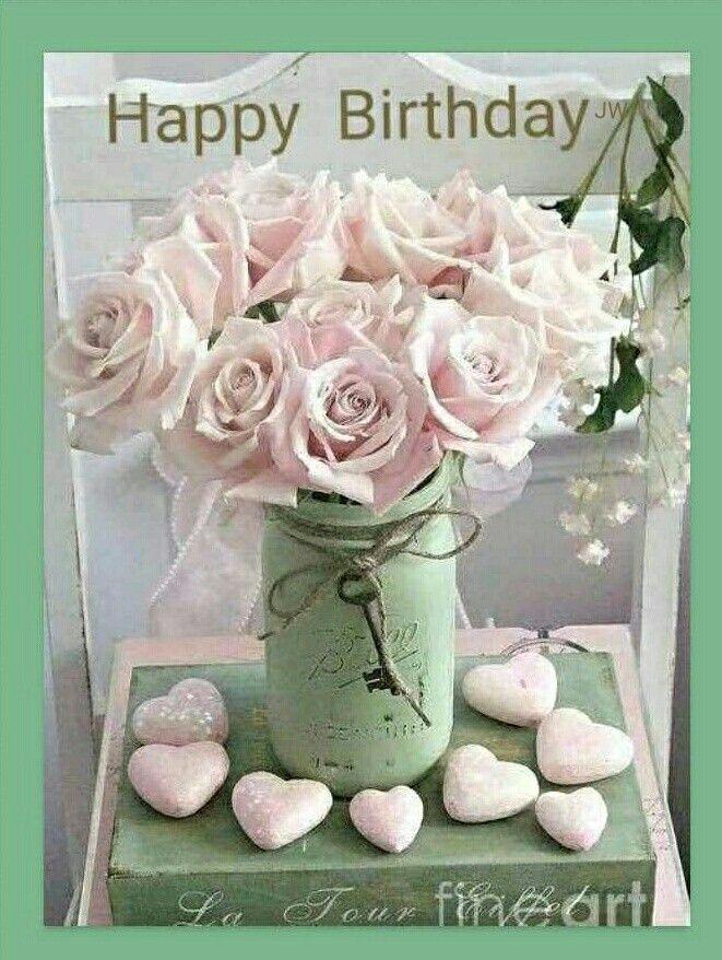Pin Von Kristin Hirche Auf Happy Birthday And Sayings Pinke Rosen Blumengestecke Romantisches Shabby Chic