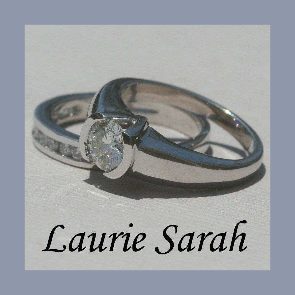 Channel Set And Half Bezel Diamond Engagement Ring With Matching Wedding Band In 14kt White