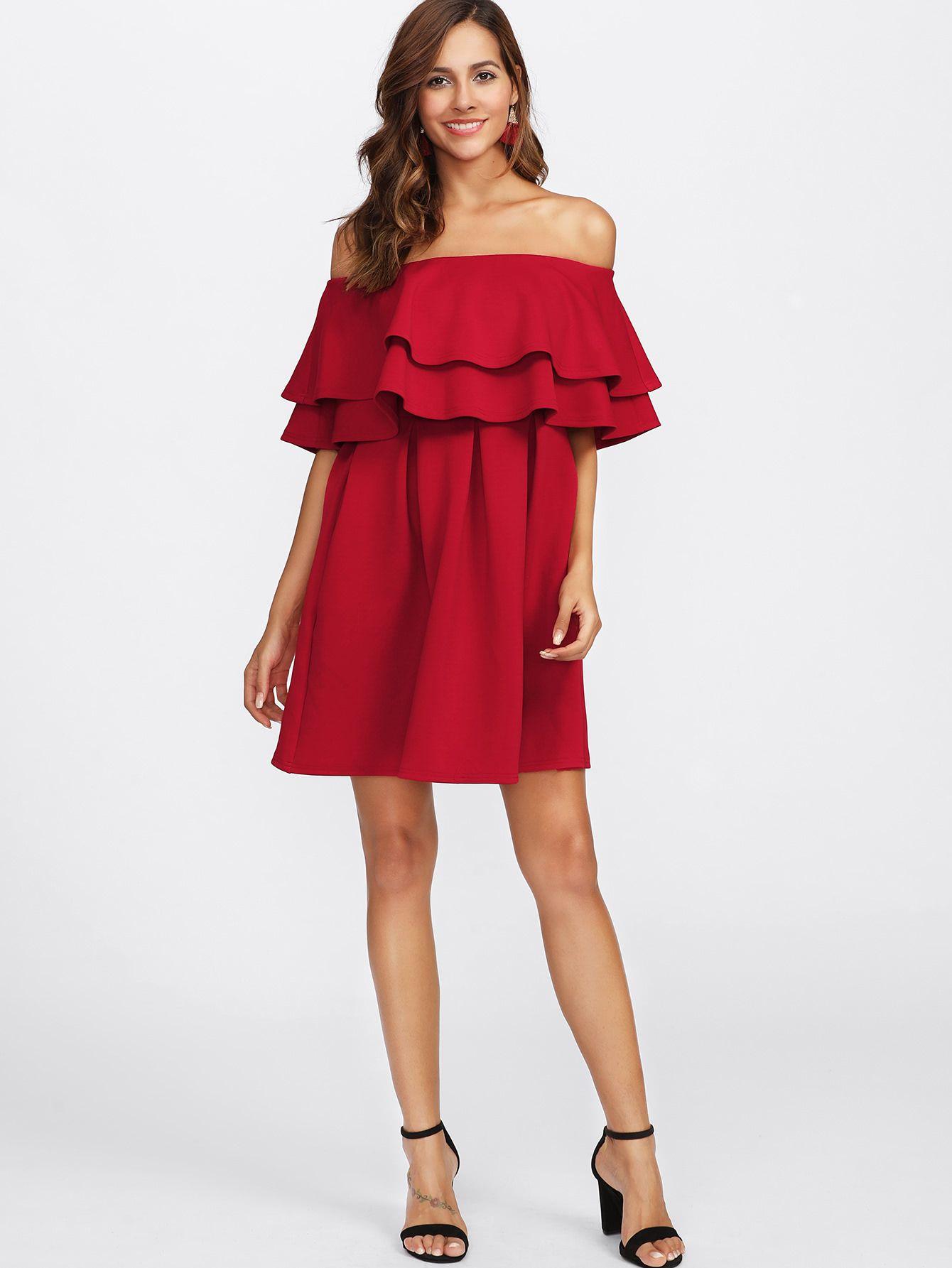1039483e7b2 Shop Layered Flounce Off Shoulder Dress online. SheIn offers Layered  Flounce Off Shoulder Dress