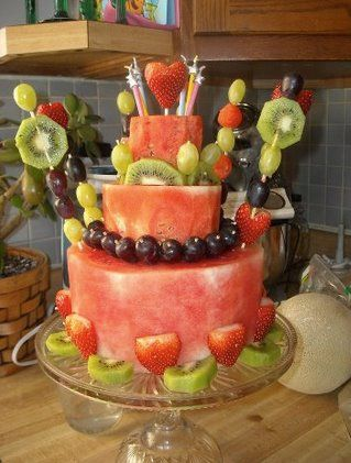 I saw this amazing cake idea on the Engine 2 Diet a wonderful way